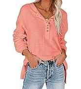 REVETRO Womens Loose Sweatshirt Long Sleeve Crew Neck Henley Shirts Button Down Tunic Tops Blouses