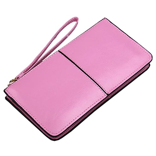 Iphone Wallet Women's Purse Leather Card Pink Splice Clutch Zipper Wristlet A606FqI