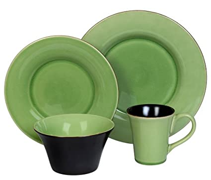 Corelle Hearthstone Stoneware 16-Piece DinnerwareSet with Crackle Finish Green Tea  sc 1 st  Amazon.com & Amazon.com | Corelle Hearthstone Stoneware 16-Piece DinnerwareSet ...