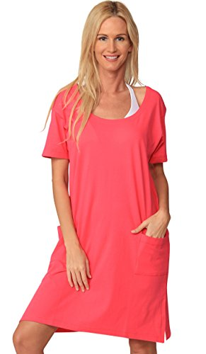 INGEAR Cotton Dress Summer White Beach Sleeve Casual Short Cover Up Plus Size (Large, Solid Pink) ()