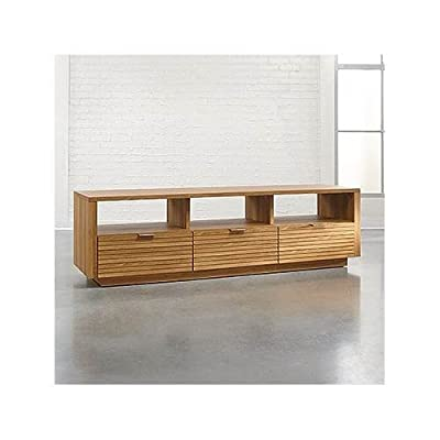 "Sauder 414986 Harvey Park Entertainment Credenza, For TV's up to 70"", Pale Oak finish - Accommodates up to a 70"" TV weighing 95 lbs. or less for optimal viewing pleasure Three drawers with metal runners and safety stops Pale Oak finish - tv-stands, living-room-furniture, living-room - 41O4ciyivEL. SS400  -"