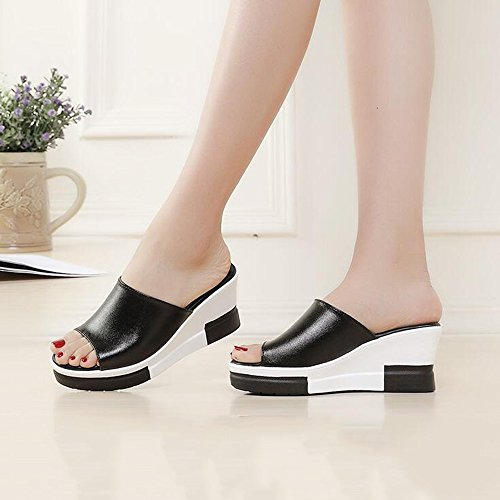 taille cm hauts CN37 Noir talons Blanc Noir femmes chaussures 7 UK4 Chaussons Chaussures EU37 et HAIZHEN Noir Pour Couleur Sandales pour pantoufles 4 féminines 5 femmes 7CqwSHX