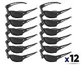 Edge Eyewear TSK216 Kazbek Polarized Safety Glasses, Black with Smoke Lens (12 Pack)