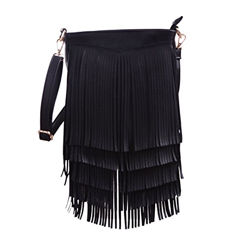 HDE Women's Leather Hobo Long Fringe Crossbody Tassel Purse Small - Black Fringed Handbag