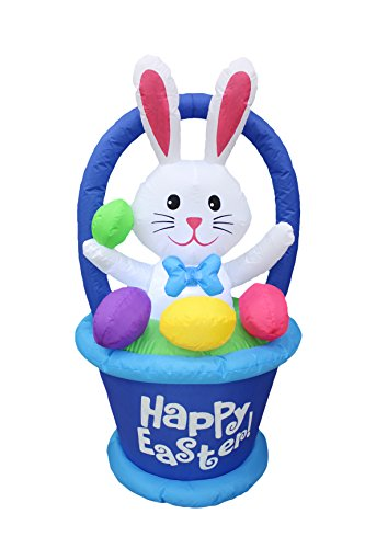4 Foot Tall Inflatable Party Bunny with Basket and Colorful Easter Eggs – Yard Blow Up Decoration