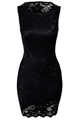 NEW Mesdames noir dentelle Hollow Out Back Mini robe Club Wear Soirée D'Été Robes Taille M 10–12