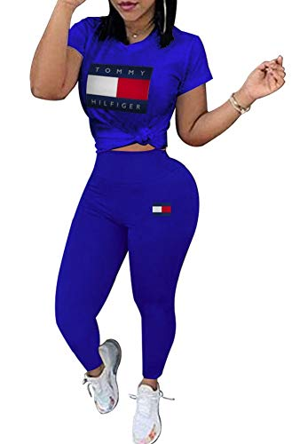 (Womens Plus Size 2 Piece Outfits Letter Print Short Sleeve Pullover Top and Leggings Set Tracksuit)