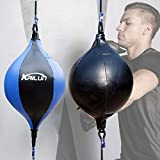 Surrui Double End Speed Ball Boxing Speed Ball Faux Leather Punching Bag for Training Fitness Fight Sports Blue+Black