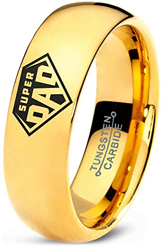 Zealot Jewelry Tungsten Superhero Super Dad Emblem Symbol Band Ring 7mm Men Women Comfort Fit 18k Yellow Gold Dome Polished Size 11