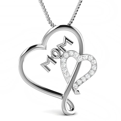 0.06 Carat Natural Real Diamond Mothers Day Special Heart Pendant 10K White Gold With Free Chain