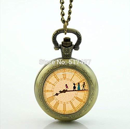 Peter Pan Big Ben Clock Pocket Watch Mini Glass Medallion Necklace Vintage Pocket Watch Necklace