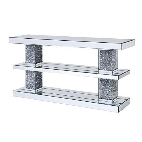 Acme Noralie Console Table in Mirrored and Faux Diamonds by Acme Furniture