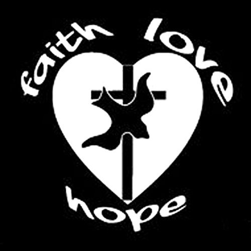 DECAL-STYLE - 13.7CMx13.5CM Faith Hope Love Car Vinyl Window Decal Sticker Christian Cross For Cars Creative Sticker Decoration
