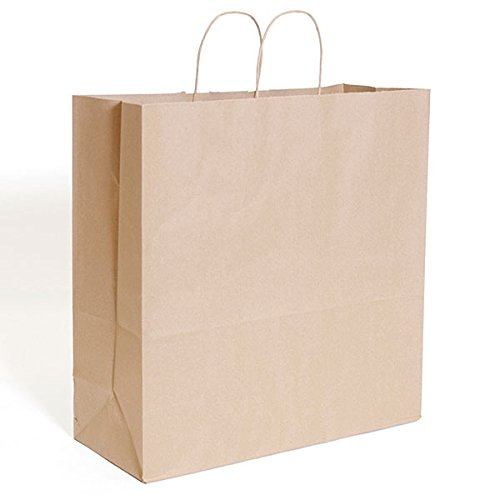 KC Store Fixtures 06206 Kraft Shopping Bag, 18'' x 7'' x 19'', Brown (Pack of 200)