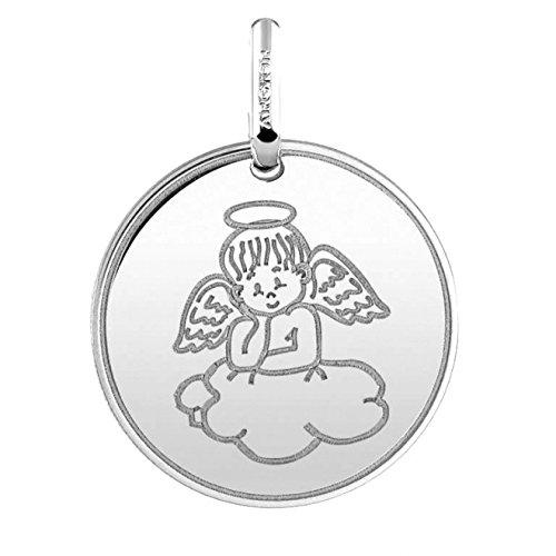ANGE SUR UN NUAGE - Médaille religieuse Or Blanc 18 carats - Diamètre 16 mm - www.diamants-perles.com A1B960005-B-18