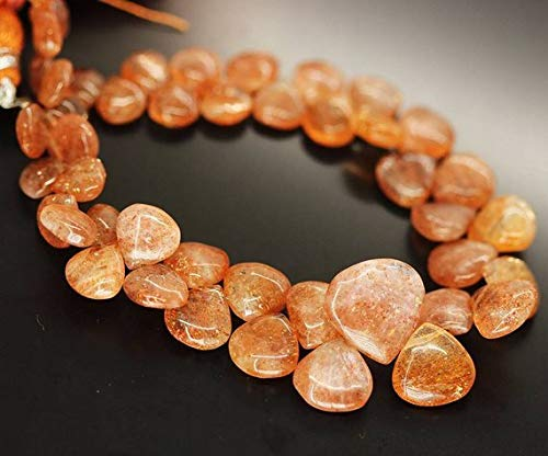 Beads Bazar Natural Beautiful jewellery Natural Orange Sunstone Smooth Heart Drop Briolette Gemstone Loose Craft Beads Strand 9