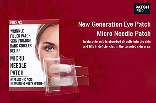[PATCH PRO] Micro Needle Patch – Hyaluronic Acid Microneedle Eye Patches for Fine Lines, Eye Wrinkles, Dark Circles, Forehead Lines, Wrinkle Filler Patches 8pcs
