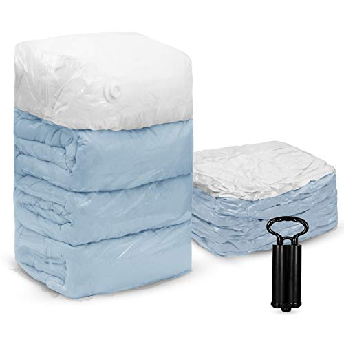 TAILI Cube Vacuum Space Saver Bags Jumbo Size 6 Pack of 31x40x15 inch with 1 Unique Travel Hand Pump, Extra Large Compressed Storage Bags for Pillows Comforters, Pillows, Bedding, Blankets, Clothes