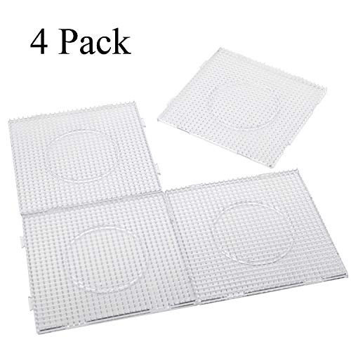 H&W 4PCS 5mm Fuse Beads Boards, Large Clear Pegboards Kits, with Gift 4 Lroning Paper (WA3-Z1)