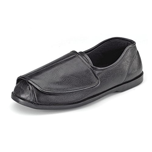 Clifford James Mens Womens Very Wide Genuine Leather Shoe Slipper with Easy Wrap Around Touch Fasten Fit and Soft Comfortable Upper In Black and Brown. (11, Black)