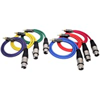 GLS Audio 2ft Patch Cable Cords - XLR Female To RCA Male Color Cables - 2 Pro Series Cord - 6 PACK