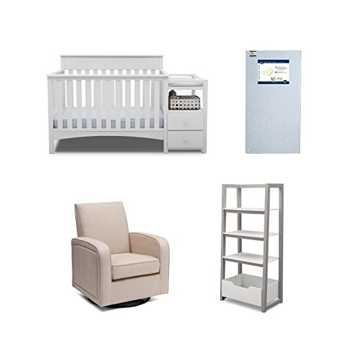 Delta Children Presley 4-Piece Nursery Furniture Set (Convertible Crib N Changer, Ladder Shelf, Glider, Crib Mattress), Bianca White by Delta Children