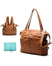 Diaper Bag Tote Mominside Leather Diaper Bag Backpack for Mom Dad Large Travel Diaper Tote Baby Bag for Boys Girls with 4 Insulated Pockets, Changing Station, Shoulder Straps(Brown)