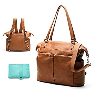Diaper Bag Tote Mominside Leather Diaper Bag Backpack for Mom and Dad Large Travel Diaper Tote Baby Bag for Boys and Girls with Insulated Pocket, Changing Pad, Shoulder Straps(Brown)