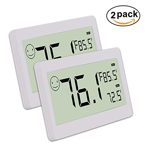 Digital Thermometer Hygrometer,Humidity Monitor with Temperature Gauge and 3.3 Inch LCD Display,Table Standing,Magnet Attaching for Household,Kids Home,Kitchen,etc (2 Pack)