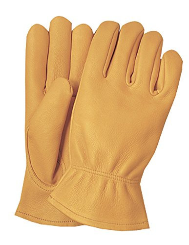 Illinois Glove Company 59MB Premium Heavy Duty Grain Elkskin Gloves M Gold Unlined, Premium Gold Grain Elkskin Leather Work Gloves, Keystone Thumb, Shirred Elastic (Western Glove Works)