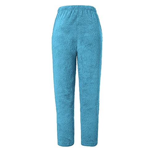 BOLUOYI Yoga Pants for Women Petite Length,Women's Workout Training Leggings,Women Fur Warm Fitness Sport Leggings Winter Fleece Legging Pants,Blue,S