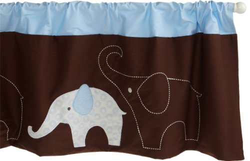 Carter's Blue Elephant Valance, Blue/Choc, 60 X 14″, Baby & Kids Zone
