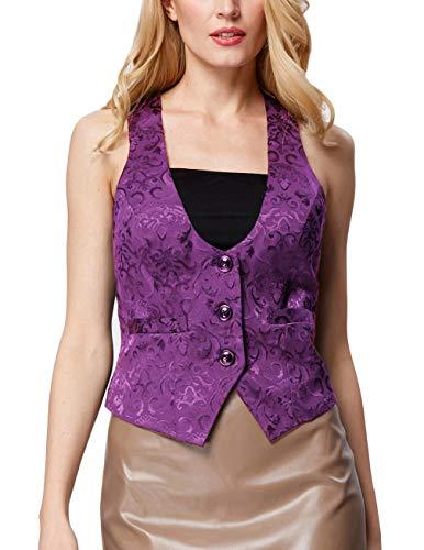 GRACE KARIN Womens Formal Dressy Suit Jackets Office Wear(L, Purple 677)
