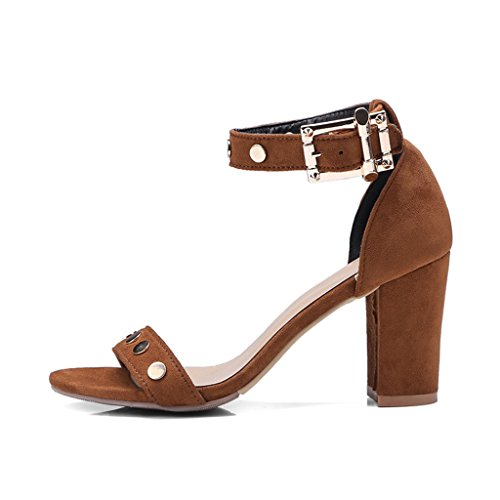 Sandals Summer Frosted Upper Rivet Open Toe Female High Heels Black/Brown Thick Heel Shoes Women's Shoes Brown PWm6VB
