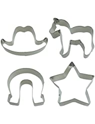 Western Cowboy Cookie Cutter Set Cowboy Hat Star Horseshoe Pony Classic Shape Fondant Pony Cakes Cutters for Kids Party Tin Plated Steel 4 Piece by SHXSTORE