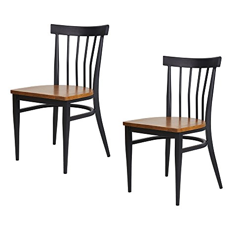 Dporticus Dining Room Chairs W/ Solid Wood Seat & Metal Frame Restaurant Chairs Indoor and Outdoor Use - Set of 2 Black