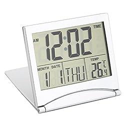 CoCocina Digital LCD Screen Travel Alarm Clocks Table Desk Thermometer Timer Calendar