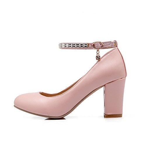 AllhqFashion Damen Hoher Absatz Rein Schnalle Weiches Material Rund Zehe Pumps Schuhe Pink