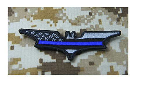 Dark Knight Thin Blue Line US Flag, AMERICAN FLAG Morale Patch Hook (Dark Knight Patch)