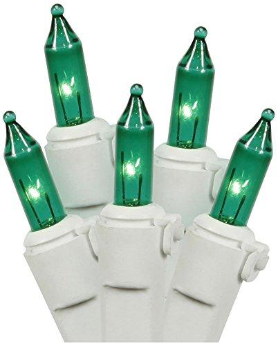 Set of 50 Green Mini Christmas Lights - White Wire