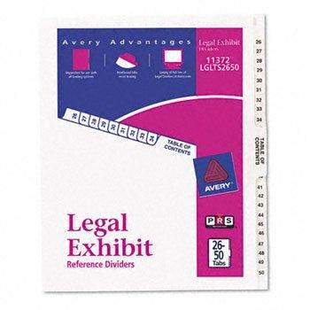 Avery® White Legal Index Dividers INDEX,SDE TABD,26-50,LTR 107292JJ (Pack of30)