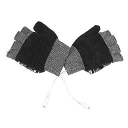 Dealpeak Cold Weather Winter Wool Knit Gloves USB Heated Warmer Gloves for Women Men Best Winter Gift Choice (GS65)