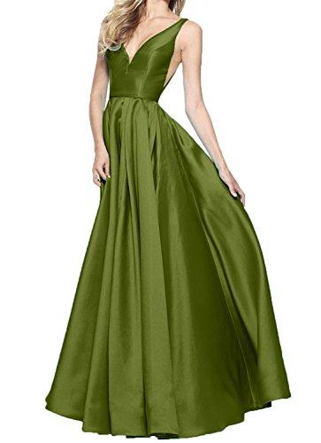 Charmant Satin Langes A Olive Brautmutterkleider Damen Linie Rock Abendkleider Gruen Brautjungfernkleider 6qw6frR