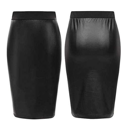 Eshion High Waist Scuba Faux Leather Pencil Midi Skirt Bodycon Slim Fit