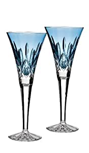 Waterford Lismore Jewels Collection Aquamarine Toasting Flute Pair