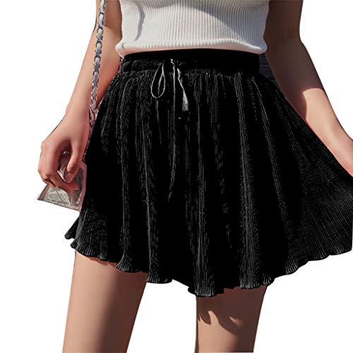 Sendke Sexy Women's lace-up Chiffon Pleated Skirt Casual Stretch Shorts Summer Pants Cool Shorts Vacation Shorts Black]()