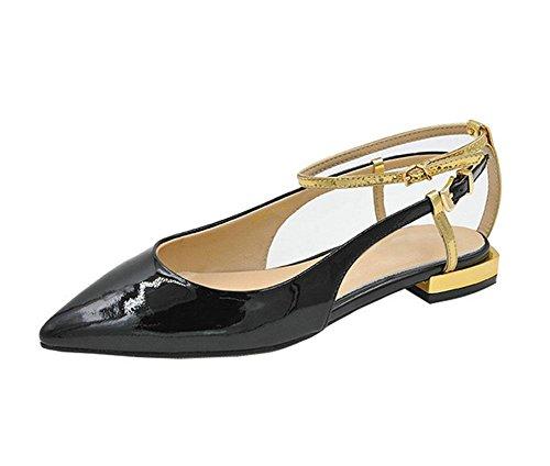 Palabra de estilo hebilla zapatos planos señalaron los zapatos Black