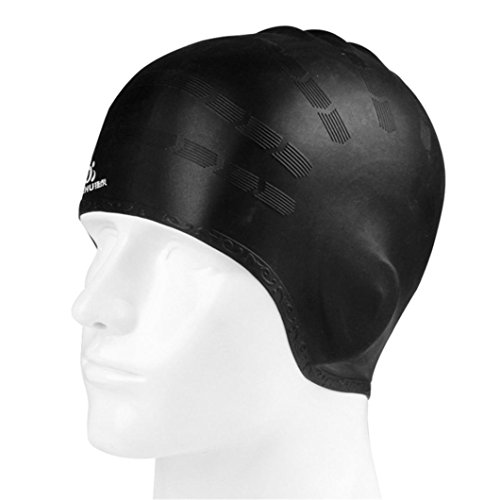 WFFO Adult Moulded Swim Cap Silicone Swimming Pool Hat Plain Protection Ear Swim Cap - Swim Cap Ironman