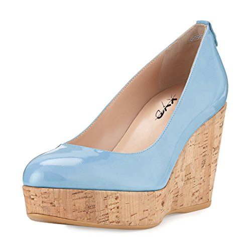 Chunky Cork Heels (XYD Street Comfortable Wedges Slip On Pumps Round Toe Platform Cork High Heels Shoes for Women Size 11 Light Sky Blue)