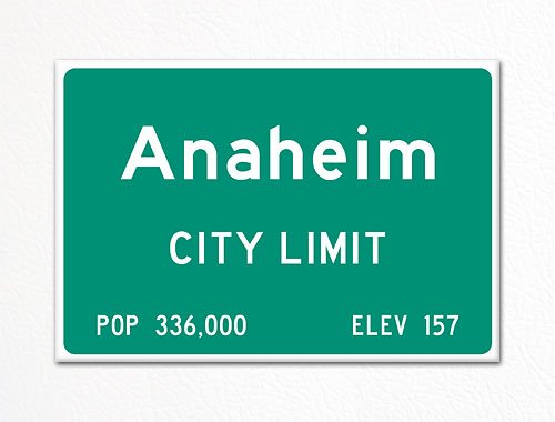 Anaheim City Limit Sign Souvenir Fridge Magnet]()